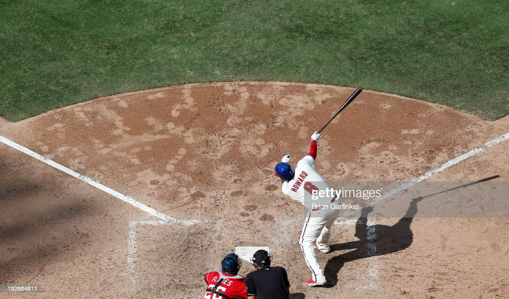 <a gi-track='captionPersonalityLinkClicked' href=/galleries/search?phrase=Ryan+Howard&family=editorial&specificpeople=551402 ng-click='$event.stopPropagation()'>Ryan Howard</a> #6 of the Philadelphia Phillies is seen batting from an elevated position during the game against the Washington Nationals at Citizens Bank Park on August 26, 2012 in Philadelphia, Pennsylvania. The Phillies won 4-1.