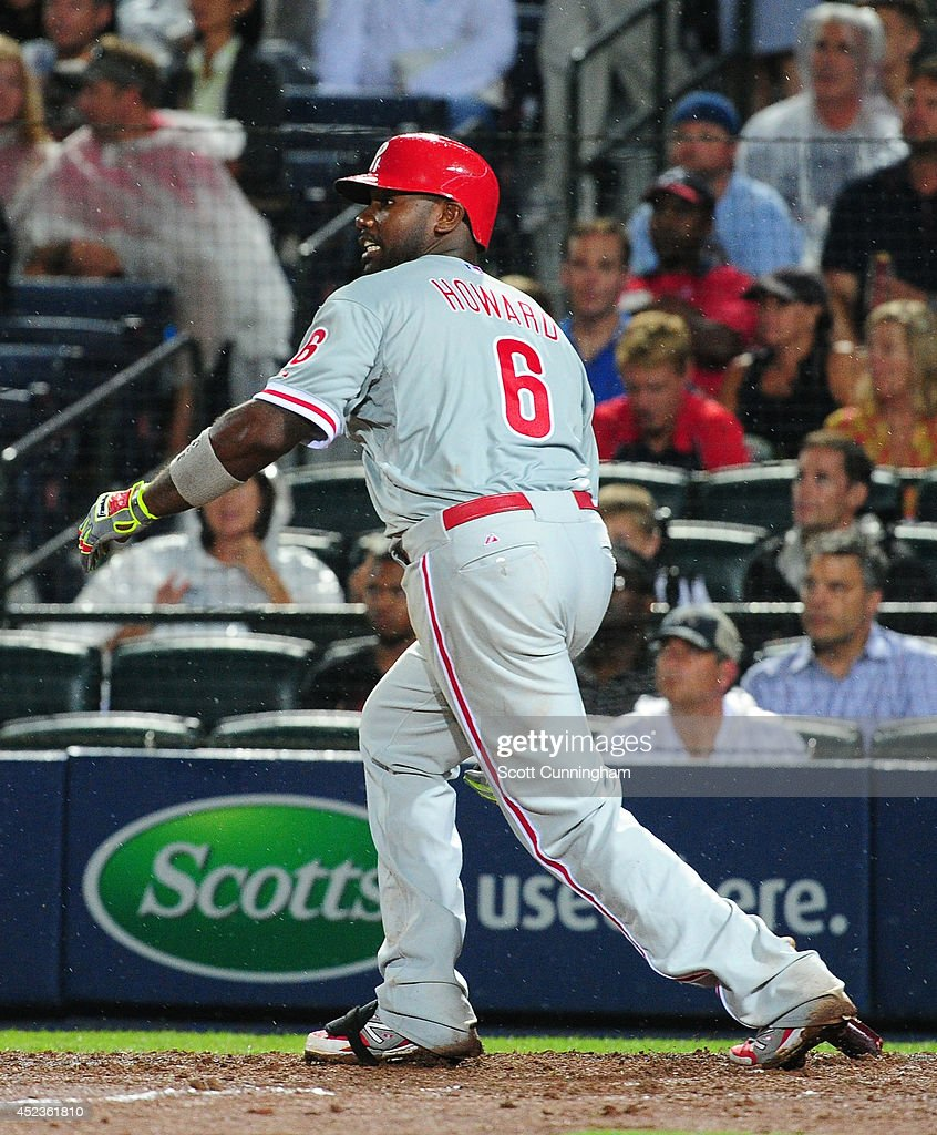 <a gi-track='captionPersonalityLinkClicked' href=/galleries/search?phrase=Ryan+Howard&family=editorial&specificpeople=551402 ng-click='$event.stopPropagation()'>Ryan Howard</a> #6 of the Philadelphia Phillies knocks in two runs with a sixth inning single inning against the Atlanta Braves at Turner Field on July 18, 2014 in Atlanta, Georgia.