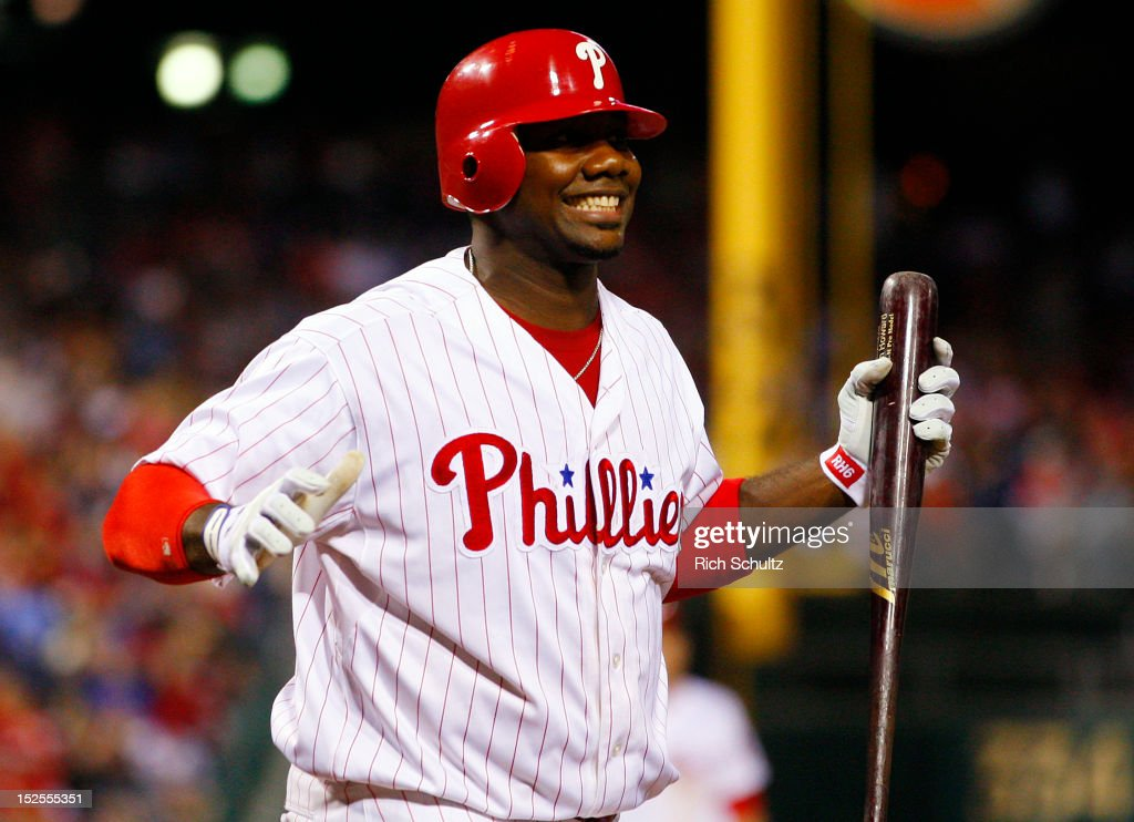 <a gi-track='captionPersonalityLinkClicked' href=/galleries/search?phrase=Ryan+Howard&family=editorial&specificpeople=551402 ng-click='$event.stopPropagation()'>Ryan Howard</a> #6 of the Philadelphia Phillies reacts after striking out in the sixth inning against the Atlanta Braves during a MLB baseball game on September 21, 2012 at Citizens Bank Park in Philadelphia, Pennsylvania. The Phillies defeated the Braves 6-2.