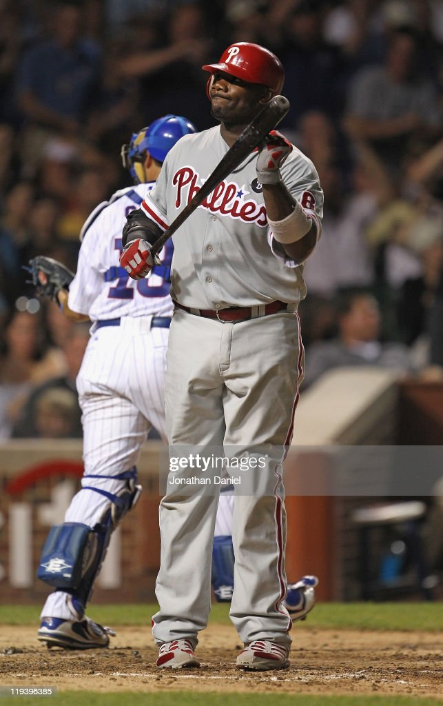 <a gi-track='captionPersonalityLinkClicked' href=/galleries/search?phrase=Ryan+Howard&family=editorial&specificpeople=551402 ng-click='$event.stopPropagation()'>Ryan Howard</a> #6 of the Philadelphia Phillies reacts after striking out to end the 6trh inning against the Chicago Cubs at Wrigley Field on July 19, 2011 in Chicago, Illlinois.