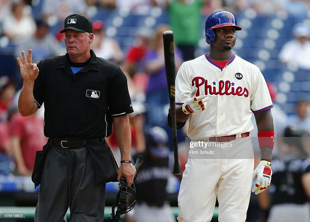 <a gi-track='captionPersonalityLinkClicked' href=/galleries/search?phrase=Ryan+Howard&family=editorial&specificpeople=551402 ng-click='$event.stopPropagation()'>Ryan Howard</a> #6 of the Philadelphia Phillies reacts to a called strike three by home plate umpire Ted Barrett, left, in the eighthth inning against the Colorado Rockies a game at Citizens Bank Park on May 31, 2015 in Philadelphia, Pennsylvania.