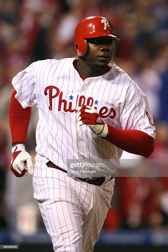 Ryan Howard #6 of the Philadelphia Phillies runs out his sixth inning homerun against the Tampa Bay Rays during game three of the 2008 MLB World Series on October 25, 2008 at Citizens Bank Park in Philadelphia, Pennsylvania.