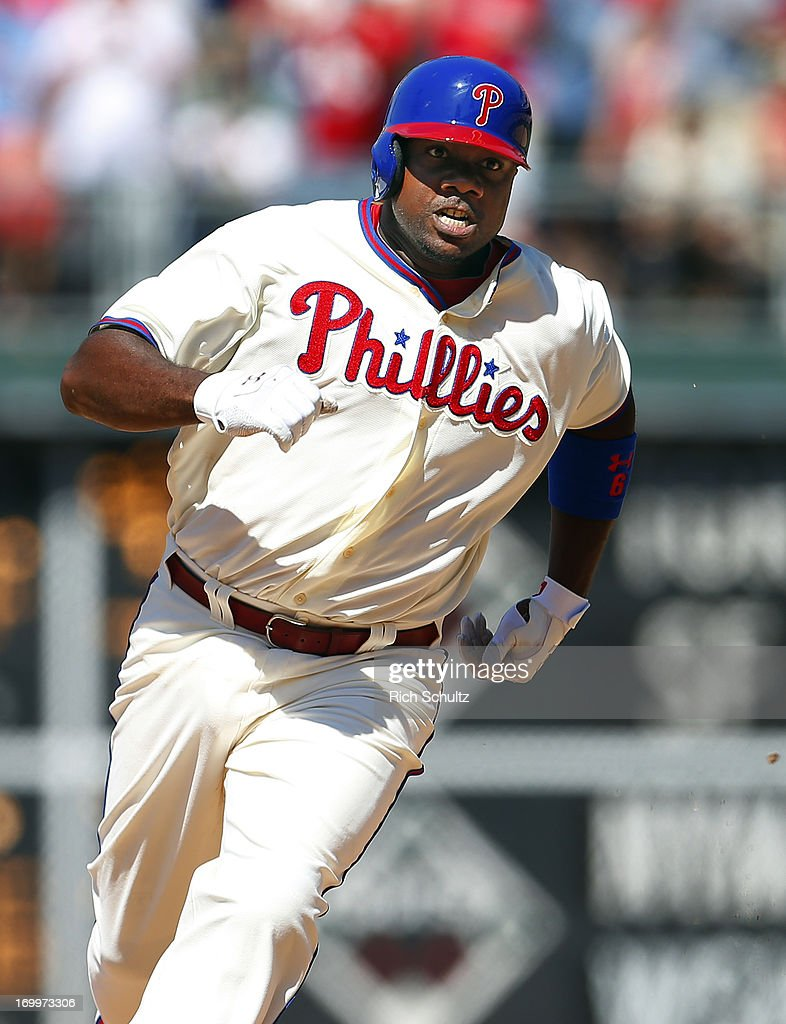 <a gi-track='captionPersonalityLinkClicked' href=/galleries/search?phrase=Ryan+Howard&family=editorial&specificpeople=551402 ng-click='$event.stopPropagation()'>Ryan Howard</a> #6 of the Philadelphia Phillies runs to third base for a two run triple in the seventh inning against the Miami Marlins on June 5, 2013 at Citizens Bank Park in Philadelphia, Pennsylvania. The Phillies defeated the Marlins 6-1.
