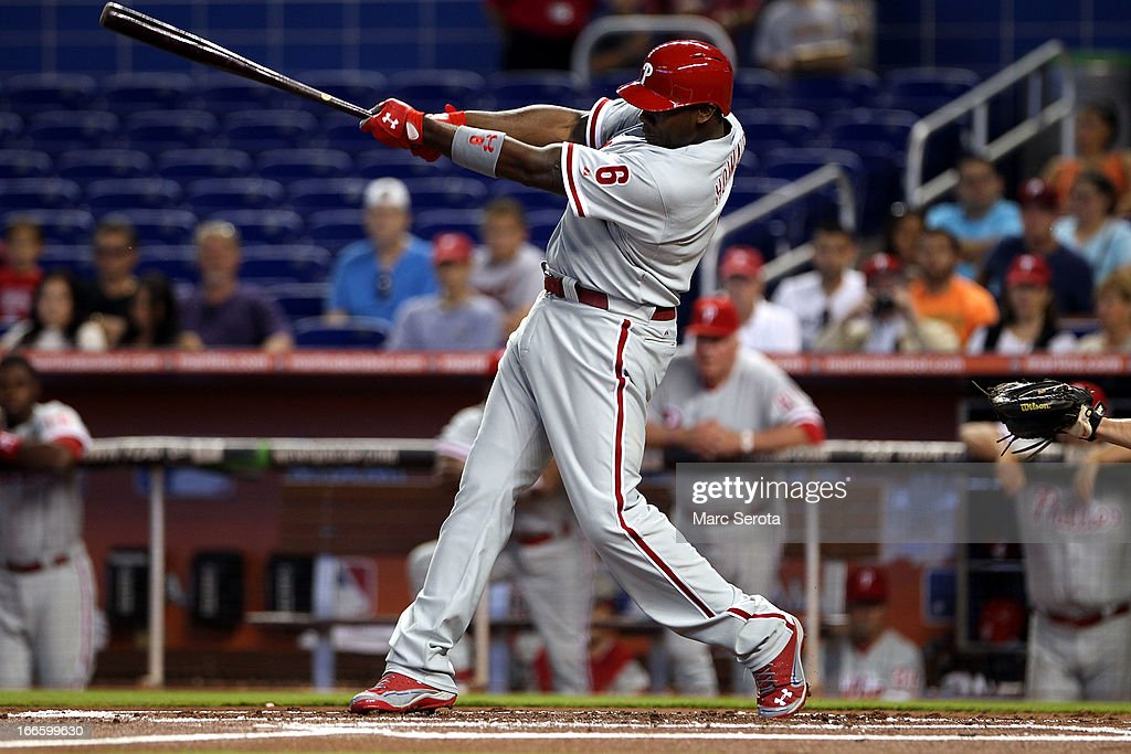 <a gi-track='captionPersonalityLinkClicked' href=/galleries/search?phrase=Ryan+Howard&family=editorial&specificpeople=551402 ng-click='$event.stopPropagation()'>Ryan Howard</a> #6 of the Philadelphia Phillies singles against the Miami Marlins in the first inning at Marlins Park on April 14, 2013 in Miami, Florida.
