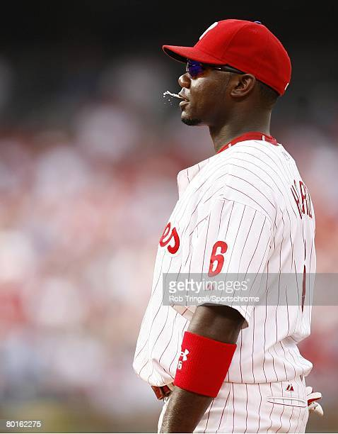 Ryan Howard of the Philadelphia Phillies spits into the air against the Colorado Rockies during game two of the NLDS on October 4 2007 at Citizens...