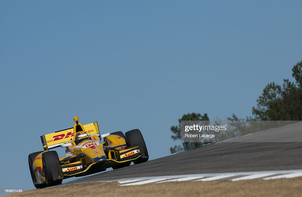 <a gi-track='captionPersonalityLinkClicked' href=/galleries/search?phrase=Ryan+Hunter-Reay&family=editorial&specificpeople=2197753 ng-click='$event.stopPropagation()'>Ryan Hunter-Reay</a> driver of the #28 Andretti Autosport Dallara Chevrolet during Day Two of IZOD IndyCar Series testing at Barber Motorsports Park on March 13, 2013 in Birmingham, Alabama.