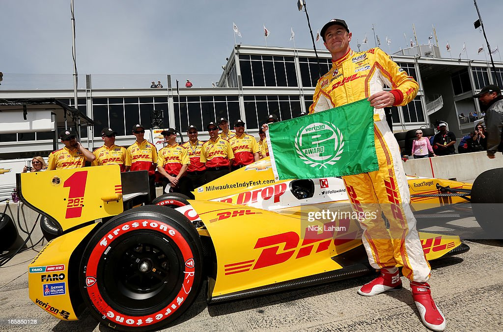 <a gi-track='captionPersonalityLinkClicked' href=/galleries/search?phrase=Ryan+Hunter-Reay&family=editorial&specificpeople=2197753 ng-click='$event.stopPropagation()'>Ryan Hunter-Reay</a>, driver of the #1 Andretti Autosport DHL Chevrolet, celebrates taking pole during qualifying for the Honda Indy Grand Prix of Alabama at Barber Motorsports Park on April 6, 2013 in Birmingham, Alabama.