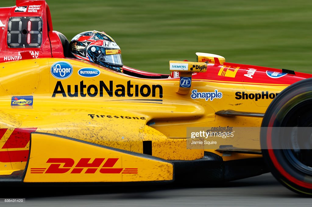<a gi-track='captionPersonalityLinkClicked' href=/galleries/search?phrase=Ryan+Hunter-Reay&family=editorial&specificpeople=2197753 ng-click='$event.stopPropagation()'>Ryan Hunter-Reay</a>, driver of the #28 Andretti Autosport Honda Dallara, in action during the 100th running of the Indianapolis 500 at Indianapolis Motorspeedway on May 29, 2016 in Indianapolis, Indiana.