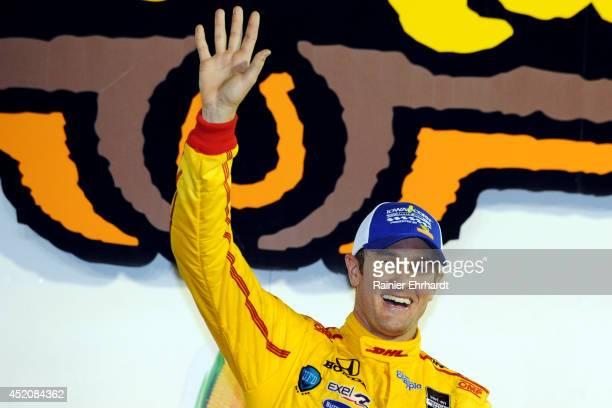 Ryan HunterReay driver of the DHL Andretti Autosport Dallara Honda celebrates after winning the Iowa Corn Indy 300 at Iowa Speedway on July 12 2014...