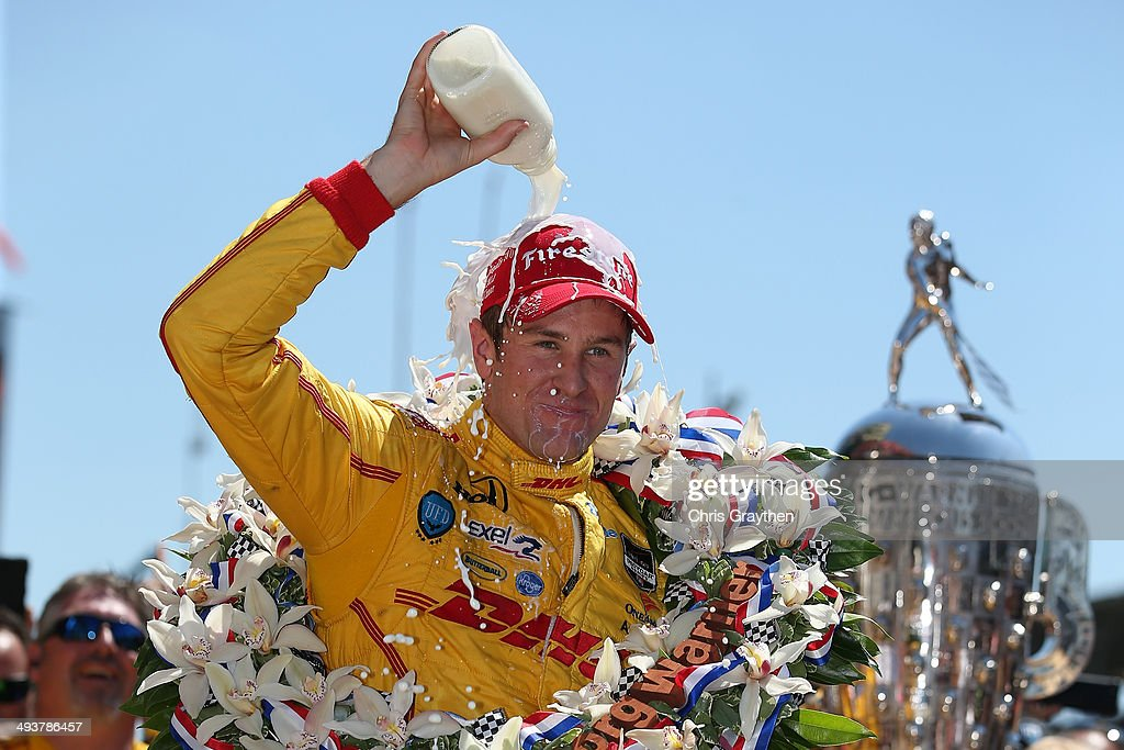 <a gi-track='captionPersonalityLinkClicked' href=/galleries/search?phrase=Ryan+Hunter-Reay&family=editorial&specificpeople=2197753 ng-click='$event.stopPropagation()'>Ryan Hunter-Reay</a>, driver of the #28 DHL Andretti Autosport Honda Dallara, celebrates after winning the 98th running of the Indianapolis 500 Mile Race at Indianapolis Motorspeedway on May 25, 2014 in Indianapolis, Indiana.