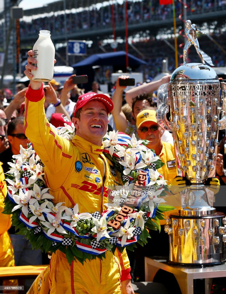 <a gi-track='captionPersonalityLinkClicked' href=/galleries/search?phrase=Ryan+Hunter-Reay&family=editorial&specificpeople=2197753 ng-click='$event.stopPropagation()'>Ryan Hunter-Reay</a>, driver of the #28 DHL Andretti Autosport Honda Dallara, celebrates in Victory Lane with milk after winning the 98th running of the Indianapolis 500 at Indianapolis Motorspeedway on May 25, 2014 in Indianapolis, Indiana.