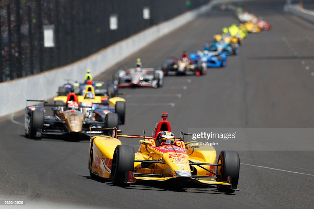 <a gi-track='captionPersonalityLinkClicked' href=/galleries/search?phrase=Ryan+Hunter-Reay&family=editorial&specificpeople=2197753 ng-click='$event.stopPropagation()'>Ryan Hunter-Reay</a>, driver of the #28 DHL Andretti Autosport Honda, leads the field during the 100th running of the Indianapolis 500 at Indianapolis Motorspeedway on May 29, 2016 in Indianapolis, Indiana.