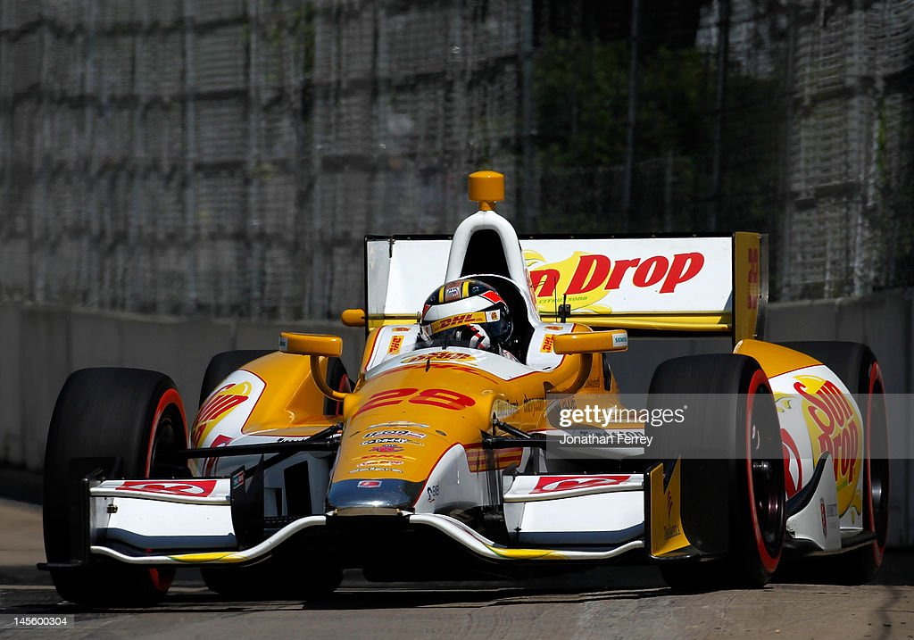 <a gi-track='captionPersonalityLinkClicked' href=/galleries/search?phrase=Ryan+Hunter-Reay&family=editorial&specificpeople=2197753 ng-click='$event.stopPropagation()'>Ryan Hunter-Reay</a> drives his #28 DHL/Sun Drop Andretti Autosport Chevy Dallara DW12 during qualifying for the IZOD INDYCAR Series Chevrolet Detroit Belle Isle Grand Prix on Belle Isle on June 2, 2012 in Detroit, Michigan.