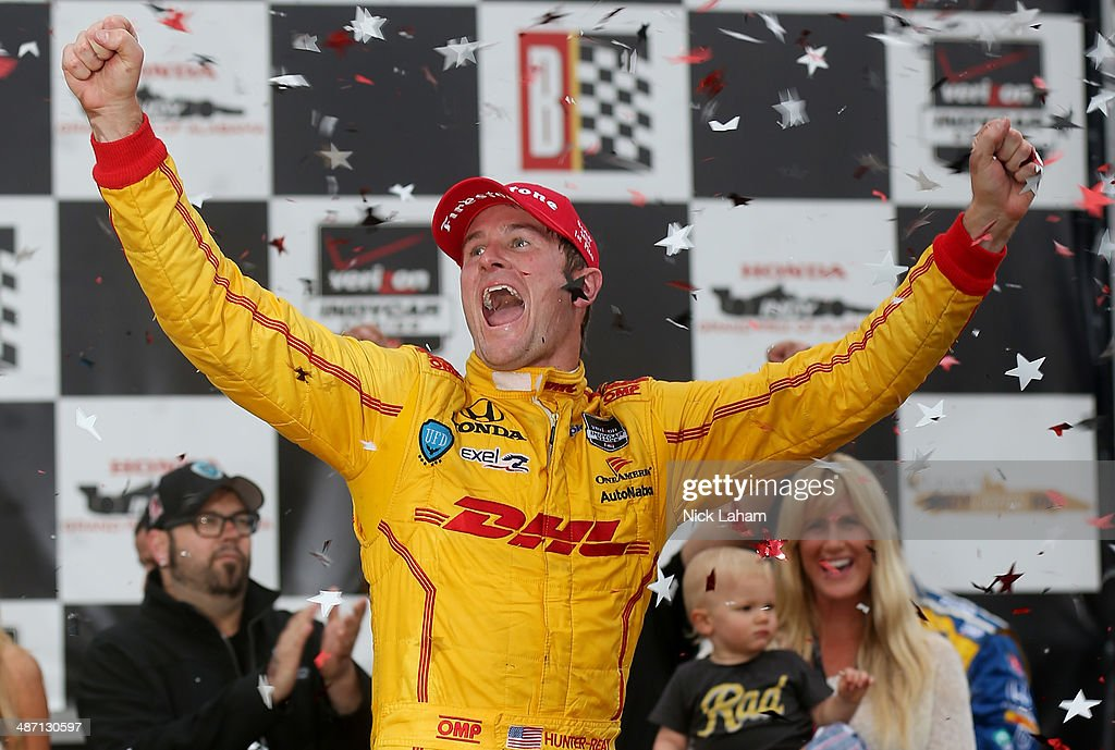 <a gi-track='captionPersonalityLinkClicked' href=/galleries/search?phrase=Ryan+Hunter-Reay&family=editorial&specificpeople=2197753 ng-click='$event.stopPropagation()'>Ryan Hunter-Reay</a> drives the #28 Andretti Autosport Dallara Honda celebrates winning the Honda Indy Car Grand Prix of Alabama at Barber Motorsports Park on April 27, 2014 in Birmingham, Alabama.