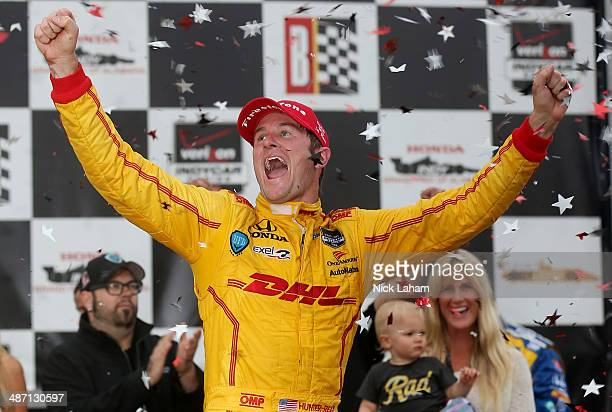 Ryan HunterReay drives the Andretti Autosport Dallara Honda celebrates winning the Honda Indy Car Grand Prix of Alabama at Barber Motorsports Park on...