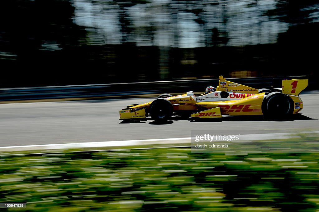 Ryan Hunter-Reay, drives the #1 Andretti Autosport DHL Chevrolet during warm up for the Honda Indy Grand Prix of Alabama at Barber Motorsports Park on April 7, 2013 in Birmingham, Alabama.