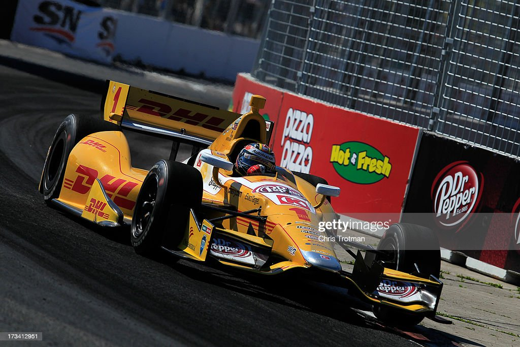 <a gi-track='captionPersonalityLinkClicked' href=/galleries/search?phrase=Ryan+Hunter-Reay&family=editorial&specificpeople=2197753 ng-click='$event.stopPropagation()'>Ryan Hunter-Reay</a> drives the #1 DLH Chevrolet during during the IZOD INDYCAR Series Honda Indy Toronto on July 13 2013 in Toronto, Canada.