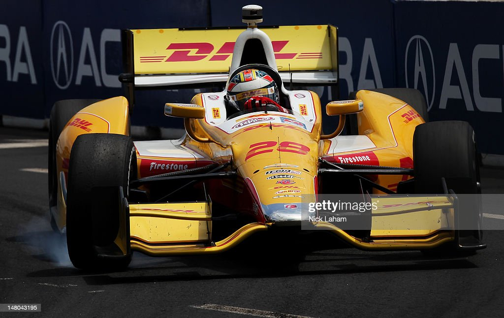 Ryan Hunter-Reay, drives the #28 Team DHL/Sun Drop Citrus Soda Chevrolet en route to victory during the IZOD INDYCAR Series Honda Indy Toronto on July 8, 2012 in Toronto, Canada.