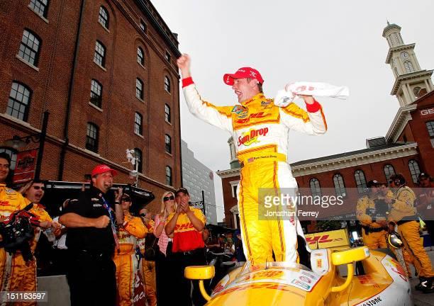 Ryan HunterReay of the United States driver of DHL/Sun Drop Citrus Soda Andretti Autosport Chevrolet Dallara celebrates his victory after the IZOD...