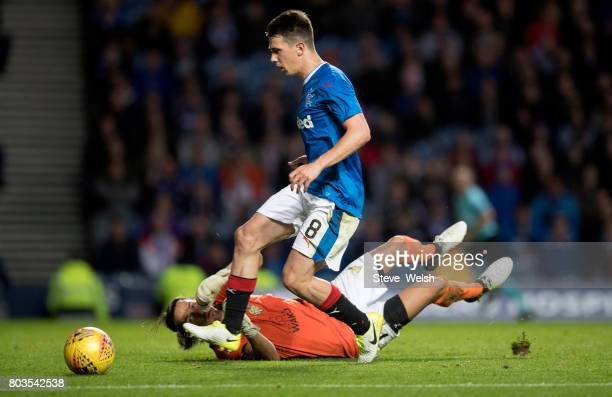 Ryan Jack of Rangers goes close to scoring a second goal during the UEFA Europa League first qualifying round match between Rangers and Progres...