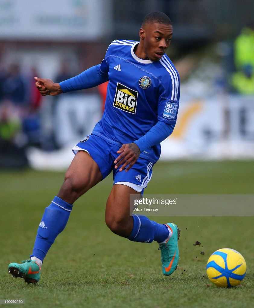 Ryan Jackson of Macclesfield Town in action during the Budweiser FA Cup fourth round match between Macclesfield Town and Wigan Athletic at Moss Rose Ground on January 26, 2013 in Macclesfield, England.