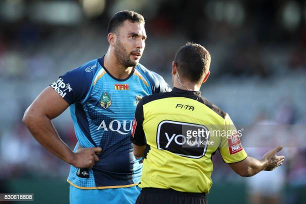 Ryan James of the Titans speaks to the referee during the round 23 NRL match between the St George Illawarra Dragons and the Gold Coast Titans at UOW...