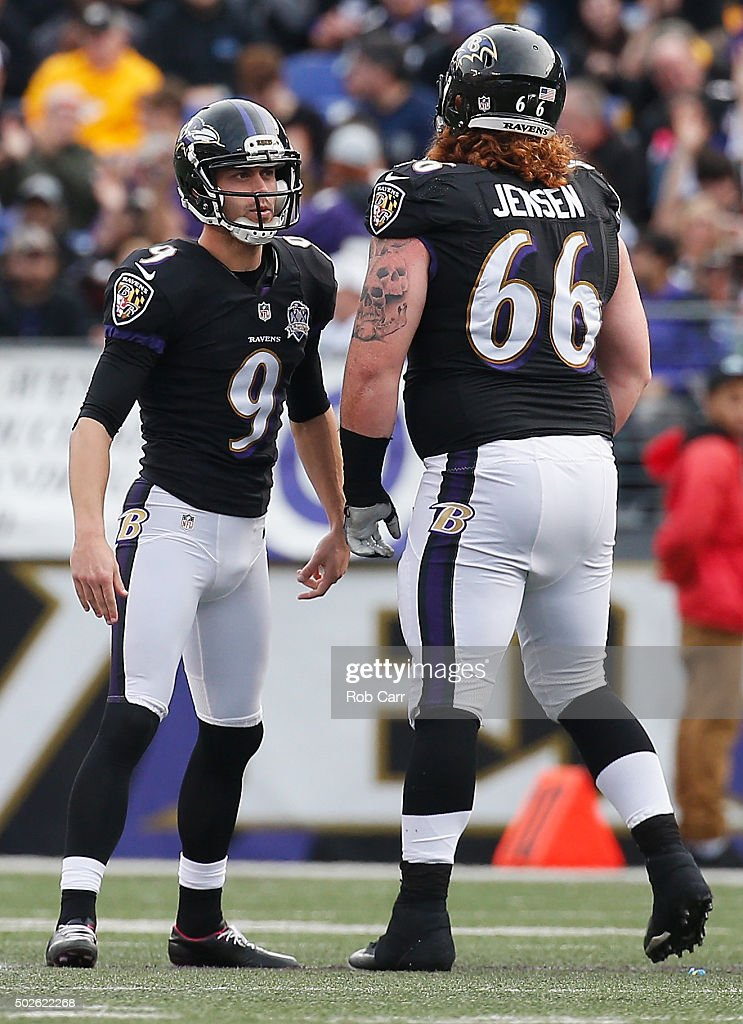 <a gi-track='captionPersonalityLinkClicked' href=/galleries/search?phrase=Ryan+Jensen&family=editorial&specificpeople=234524 ng-click='$event.stopPropagation()'>Ryan Jensen</a> #66 of the Baltimore Ravens and <a gi-track='captionPersonalityLinkClicked' href=/galleries/search?phrase=Justin+Tucker+-+American+Football+Player&family=editorial&specificpeople=9756367 ng-click='$event.stopPropagation()'>Justin Tucker</a> #9 talk during the second quarter against the Pittsburgh Steelers at M&T Bank Stadium on December 27, 2015 in Baltimore, Maryland.