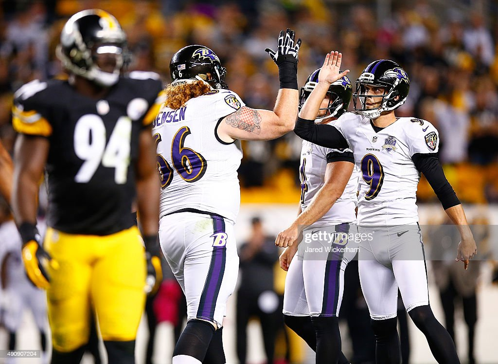 <a gi-track='captionPersonalityLinkClicked' href=/galleries/search?phrase=Ryan+Jensen&family=editorial&specificpeople=234524 ng-click='$event.stopPropagation()'>Ryan Jensen</a> #66 of the Baltimore Ravens celebrates with <a gi-track='captionPersonalityLinkClicked' href=/galleries/search?phrase=Justin+Tucker+-+American+Football+Player&family=editorial&specificpeople=9756367 ng-click='$event.stopPropagation()'>Justin Tucker</a> #9 after Tucker kicked a 42-yard field goal with 3 seconds left in the 4th quarter taking the game against the Pittsburgh Steelers into overtime at Heinz Field on October 1, 2015 in Pittsburgh, Pennsylvania.