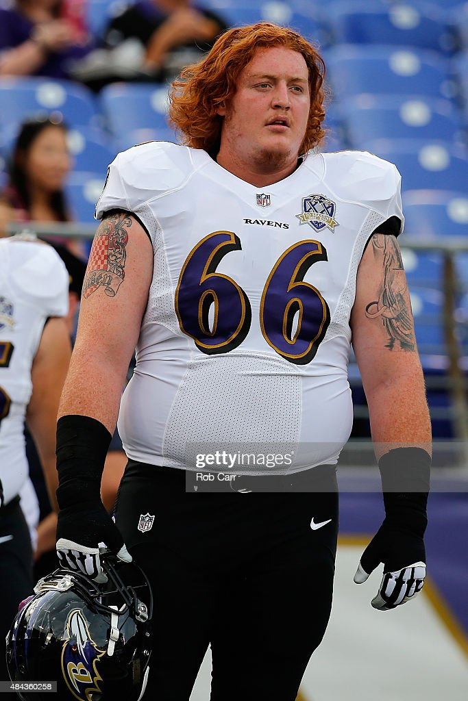 <a gi-track='captionPersonalityLinkClicked' href=/galleries/search?phrase=Ryan+Jensen&family=editorial&specificpeople=234524 ng-click='$event.stopPropagation()'>Ryan Jensen</a> #66 of the Baltimore Ravens warms up against the New Orleans Saints during a preseason game at M&T Bank Stadium on August 13, 2015 in Baltimore, Maryland.