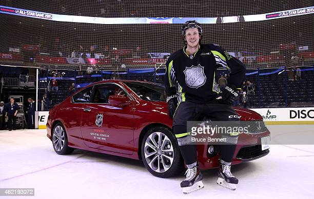 Ryan Johansen of the Columbus Blue Jackets and Team Foligno poses next to a Honda after being named MVP of the 2015 Honda NHL AllStar Game at...
