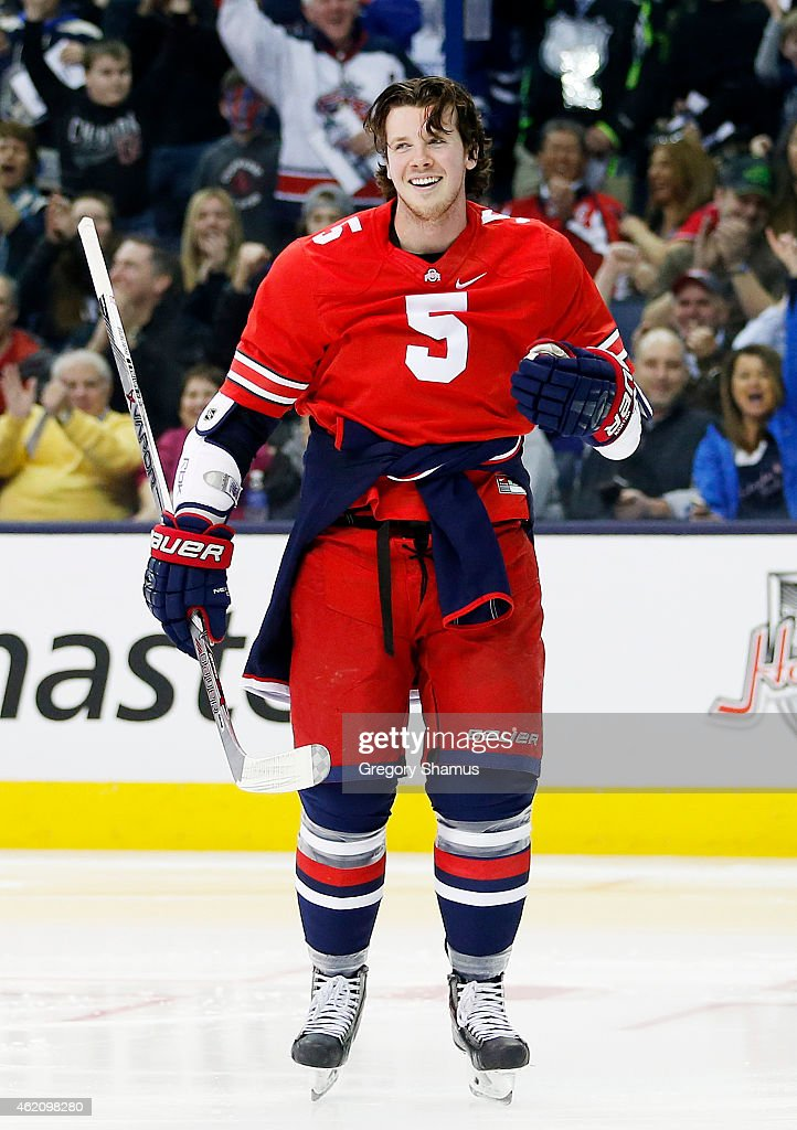 Ryan Johansen #5 of the Columbus Blue Jackets and Team Foligno reacts during the Honda NHL Breakaway Challenge event of the 2015 Honda NHL All-Star Skills Competition at Nationwide Arena on January 24, 2015 in Columbus, Ohio.