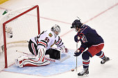 Ryan Johansen of the Columbus Blue Jackets and Team Foligno skates in on goaltender Corey Crawford of the Chicago Blackhawks and Team Toews during...