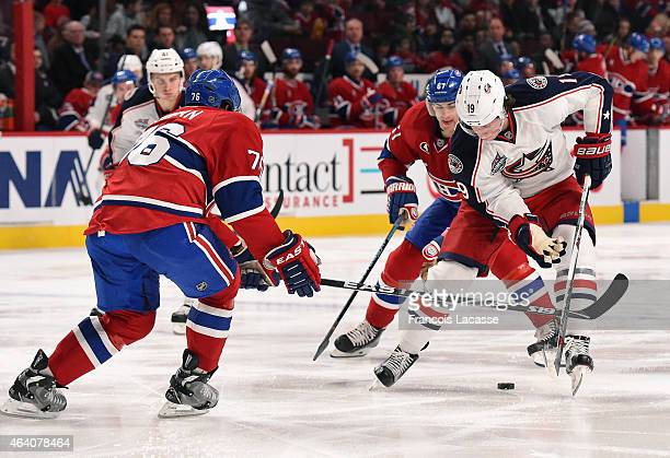 Ryan Johansen of the Columbus Blue Jackets carries the puck while being challenged by PK Subban of the Montreal Canadiens in the NHL game at the Bell...