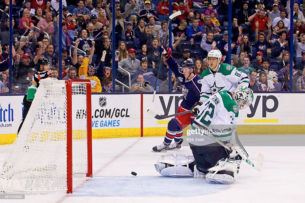 Ryan Johansen #19 of the Columbus Blue Jackets celebrates after beating Kari Lehtonen #32 of the Dallas Stars for a goal during the second period on October 14, 2014 at Nationwide Arena in Columbus, Ohio.