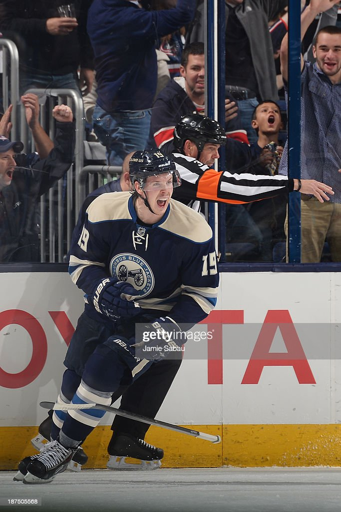 <a gi-track='captionPersonalityLinkClicked' href=/galleries/search?phrase=Ryan+Johansen&family=editorial&specificpeople=6698841 ng-click='$event.stopPropagation()'>Ryan Johansen</a> #19 of the Columbus Blue Jackets celebrates after scoring a goal during the second period against the New York Islanders on November 9, 2013 at Nationwide Arena in Columbus, Ohio.