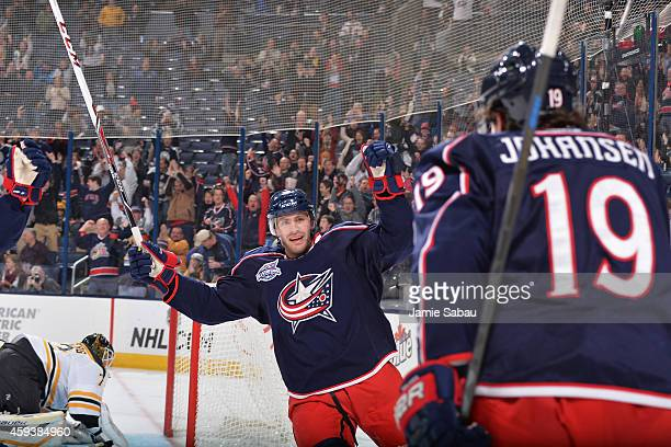 Ryan Johansen of the Columbus Blue Jackets celebrates his first period goal with teammate Boone Jenner of the Columbus Blue Jackets during a game...