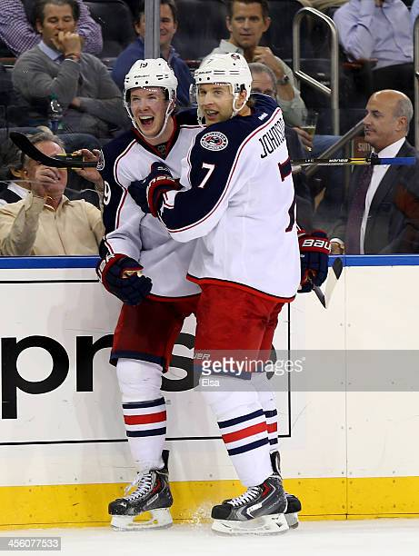 Ryan Johansen of the Columbus Blue Jackets celebrates his goal with teammate Jack Johnson in the third period against the New York Rangers at Madison...