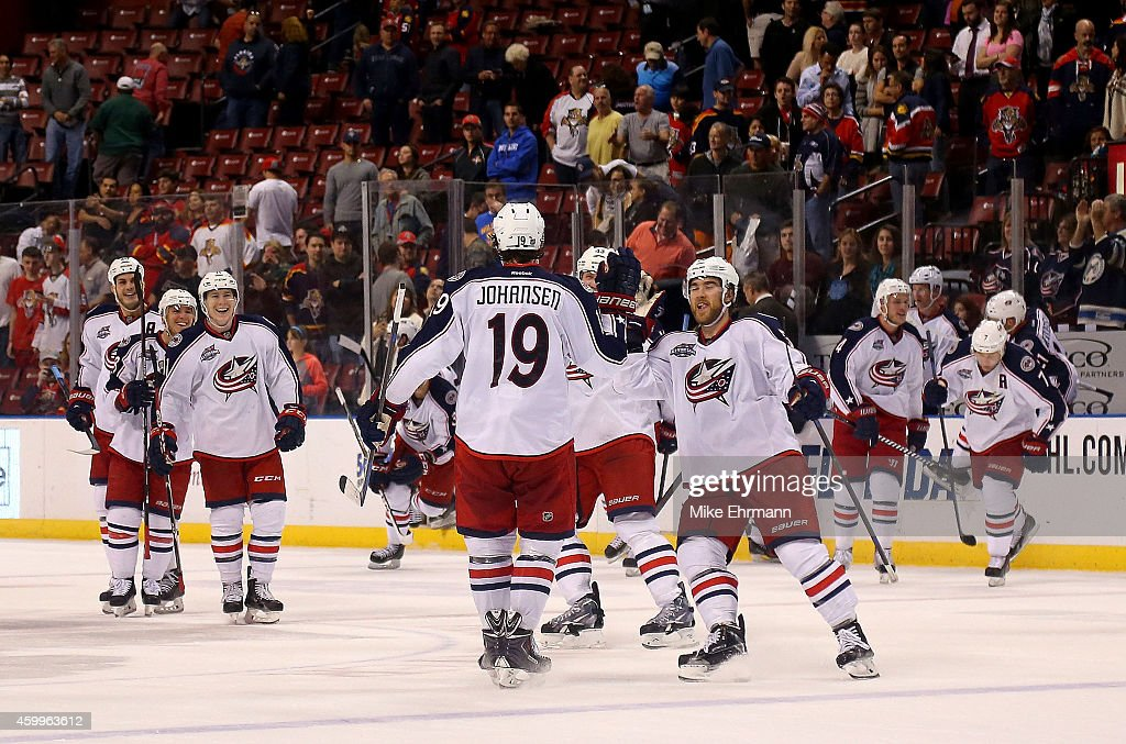 Ryan Johansen of the Columbus Blue Jackets celebrates scoring the game winning goal against the Florida Panthers during a game at BBT Center on...