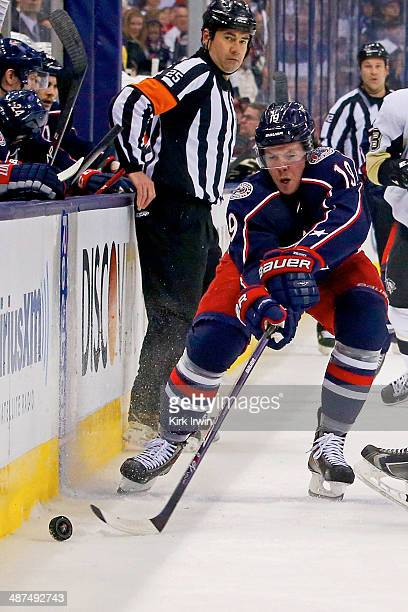 Ryan Johansen of the Columbus Blue Jackets controls the puck during Game Six of the First Round of the 2014 NHL Stanley Cup Playoffs against the...