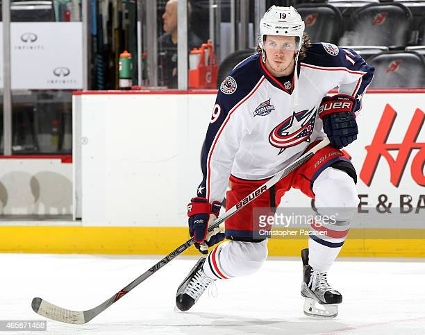 Ryan Johansen of the Columbus Blue Jackets looks on prior to the game against the New Jersey Devils at the Prudential Center on March 6 2015 in...