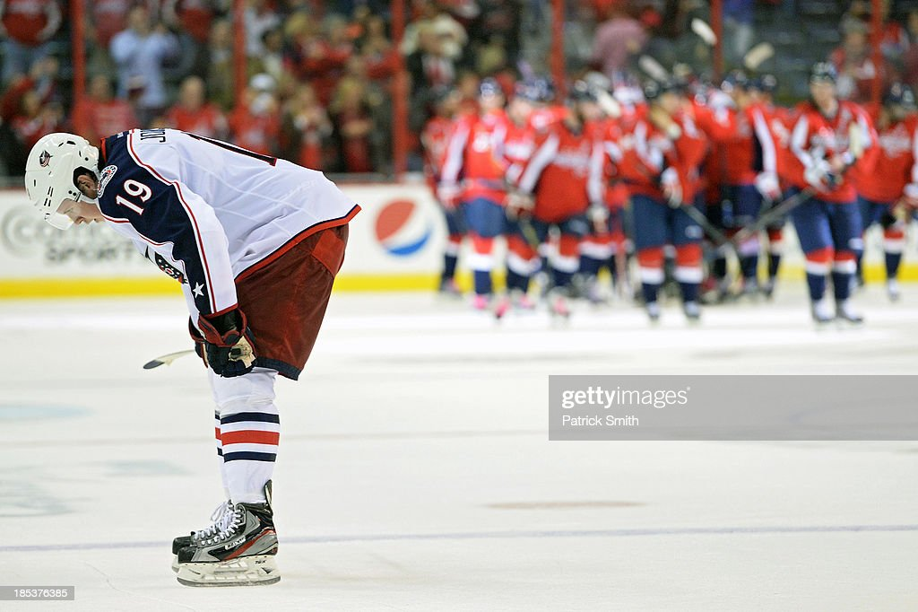 <a gi-track='captionPersonalityLinkClicked' href=/galleries/search?phrase=Ryan+Johansen&family=editorial&specificpeople=6698841 ng-click='$event.stopPropagation()'>Ryan Johansen</a> #19 of the Columbus Blue Jackets reacts after losing to the Washington Capitals, 4-1, at the Verizon Center on October 19, 2013 in Washington, DC.