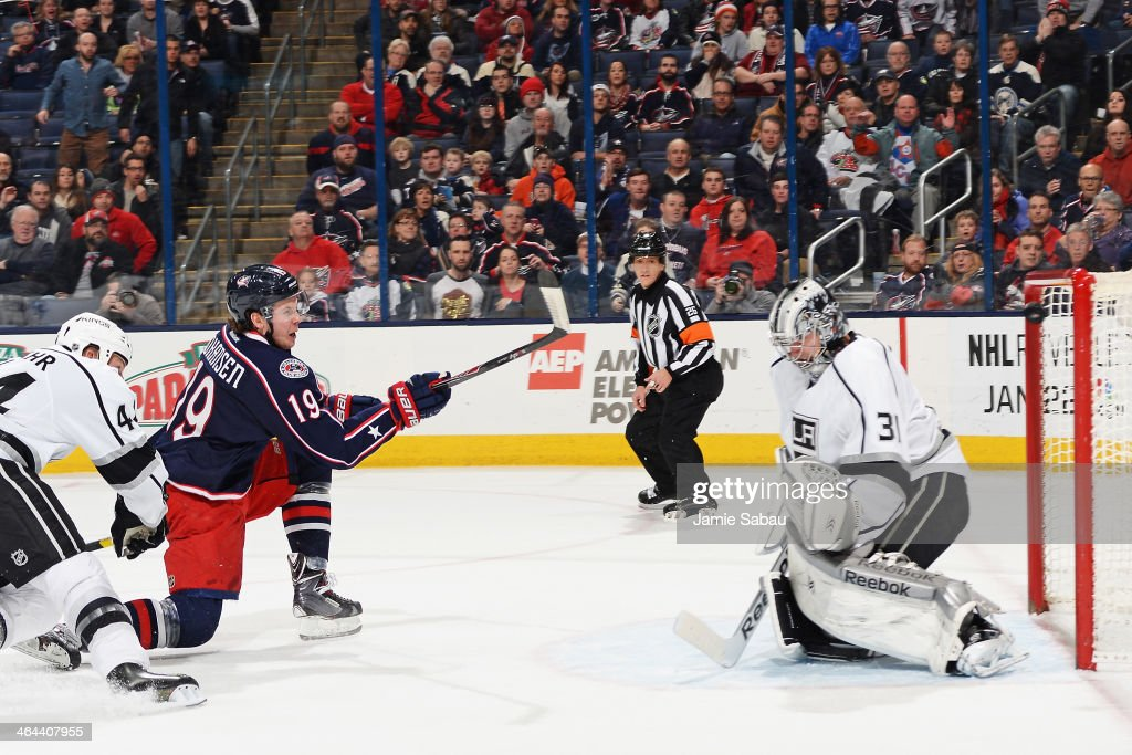 Ryan Johansen of the Columbus Blue Jackets scores a goal on goaltender Martin Jones of the Los Angeles Kings during the first period on January 21...