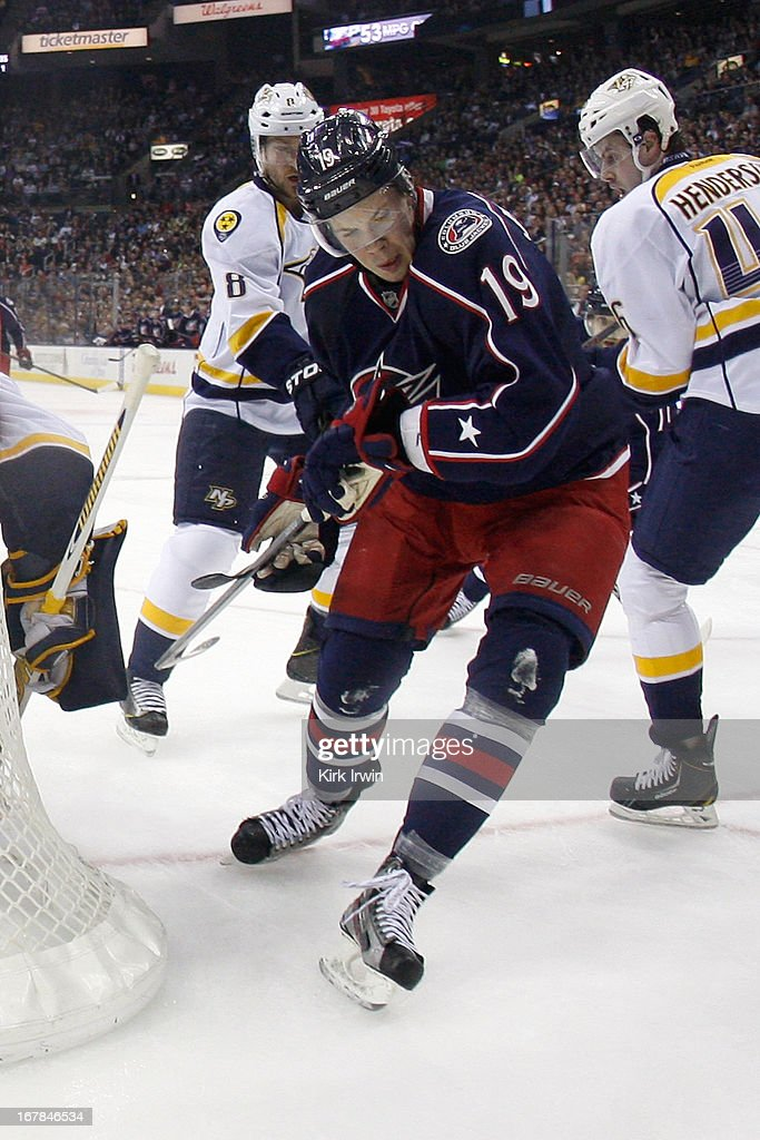 Ryan Johansen #19 of the Columbus Blue Jackets skates after the puck during the game against the Nashville Predators on April 27, 2013 at Nationwide Arena in Columbus, Ohio. Columbus defeated Nashville 3-1.