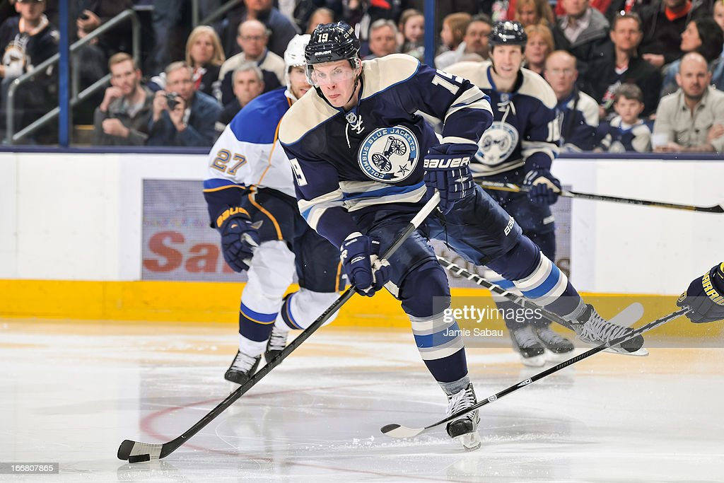 Ryan Johansen #19 of the Columbus Blue Jackets skates with the puck against the St. Louis Blues on April 12, 2013 at Nationwide Arena in Columbus, Ohio.