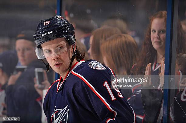 Ryan Johansen of the Columbus Blue Jackets warms up before a game against the Philadelphia Flyers on December 19 2015 at Nationwide Arena in Columbus...