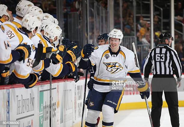 Ryan Johansen of the Nashville Predators celebrates a goal against the Colorado Avalanche with his bench at the Pepsi Center on January 8 2016 in...