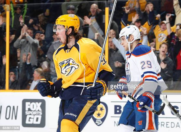 Ryan Johansen of the Nashville Predators celebrates his goal against Leon Draisaitl of the Edmonton Oilers during an NHL game at Bridgestone Arena on...