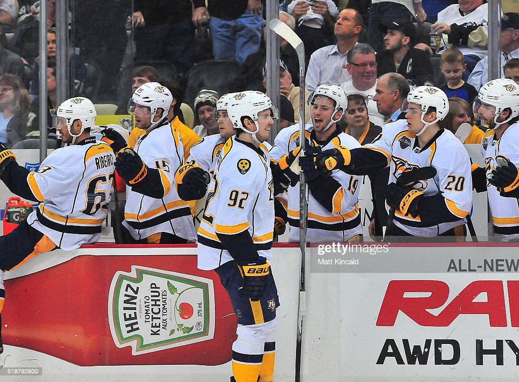 Ryan Johansen #92 of the Nashville Predators is congratulated by his bench after scoring a goal against the Pittsburgh Penguins at Consol Energy Center on March 31, 2016 in Pittsburgh, Pennsylvania.