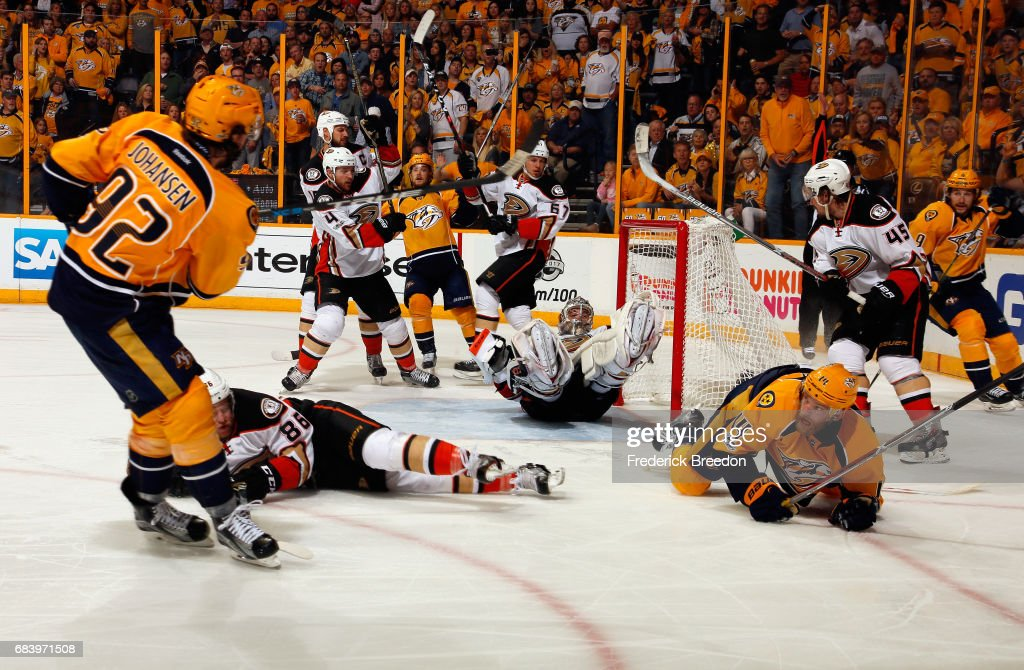 Ryan Johansen #92 of the Nashville Predators shoots the puck against John Gibson #36 of the Anaheim Ducks during the third period in Game Three of the Western Conference Final during the 2017 Stanley Cup Playoffs at Bridgestone Arena on May 16, 2017 in Nashville, Tennessee. The goal was disallowed due to interference.