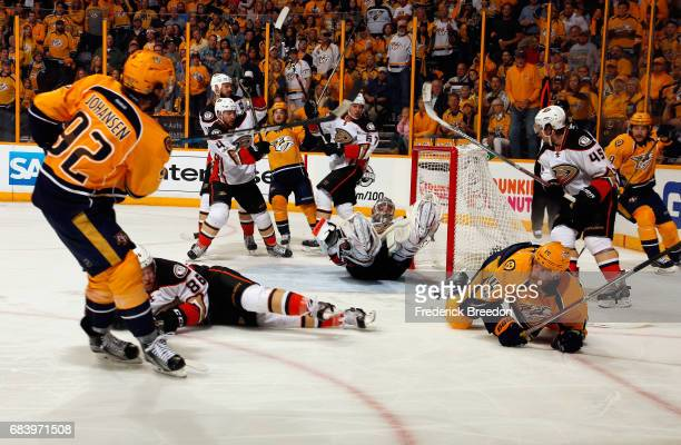 Ryan Johansen of the Nashville Predators shoots the puck against John Gibson of the Anaheim Ducks during the third period in Game Three of the...